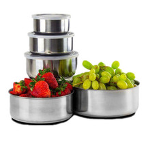 10PCS Stainless Steel Storage Bowl Set with Clear Lid Single Wall Bowls ... - $12.99