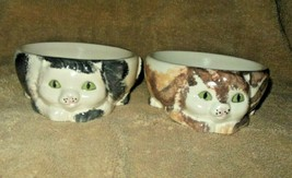 SET OF 2 ART POTTERY HAND PAINTED 3-D CAT FEEDING BOWLS DISHES ADORABLE! - $39.99