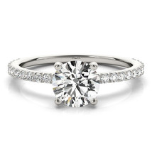Round Cut Diamond Classic Petite Engagement Ring White Gold - GIA Flawless - $2,359.42