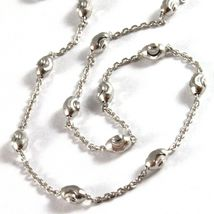 """18K WHITE GOLD ROLO ALTERNATE CHAIN NECKLACE 3mm FACETED OVAL BALLS 16"""" image 3"""