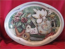 Beautiful Vtg Oval Tin Tray with Magnolias, a W... - $14.31