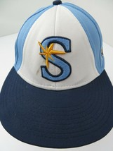 Sting The Game Blue White Fitted S Adult Baseball Ball Cap Hat - $12.86
