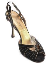 DOLCE & GABBANA Sandal Black Suede Gold Leather Slingback Shoe Peep Toe ... - $118.75
