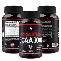 Monster BCAA 3000 - 120 Tablets - PowerFoods - Concentrated AminoAcid fo... - $16.95