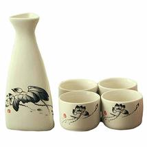 PANDA SUPERSTORE 5 Piece Japanese Sake Set Handmade Ceramic Wine Cup Home Decor