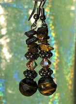 VTG 90s Boho Real Gemstone/Glass Bead Drop Dangle Pierced Earrings~Brown... - $15.20