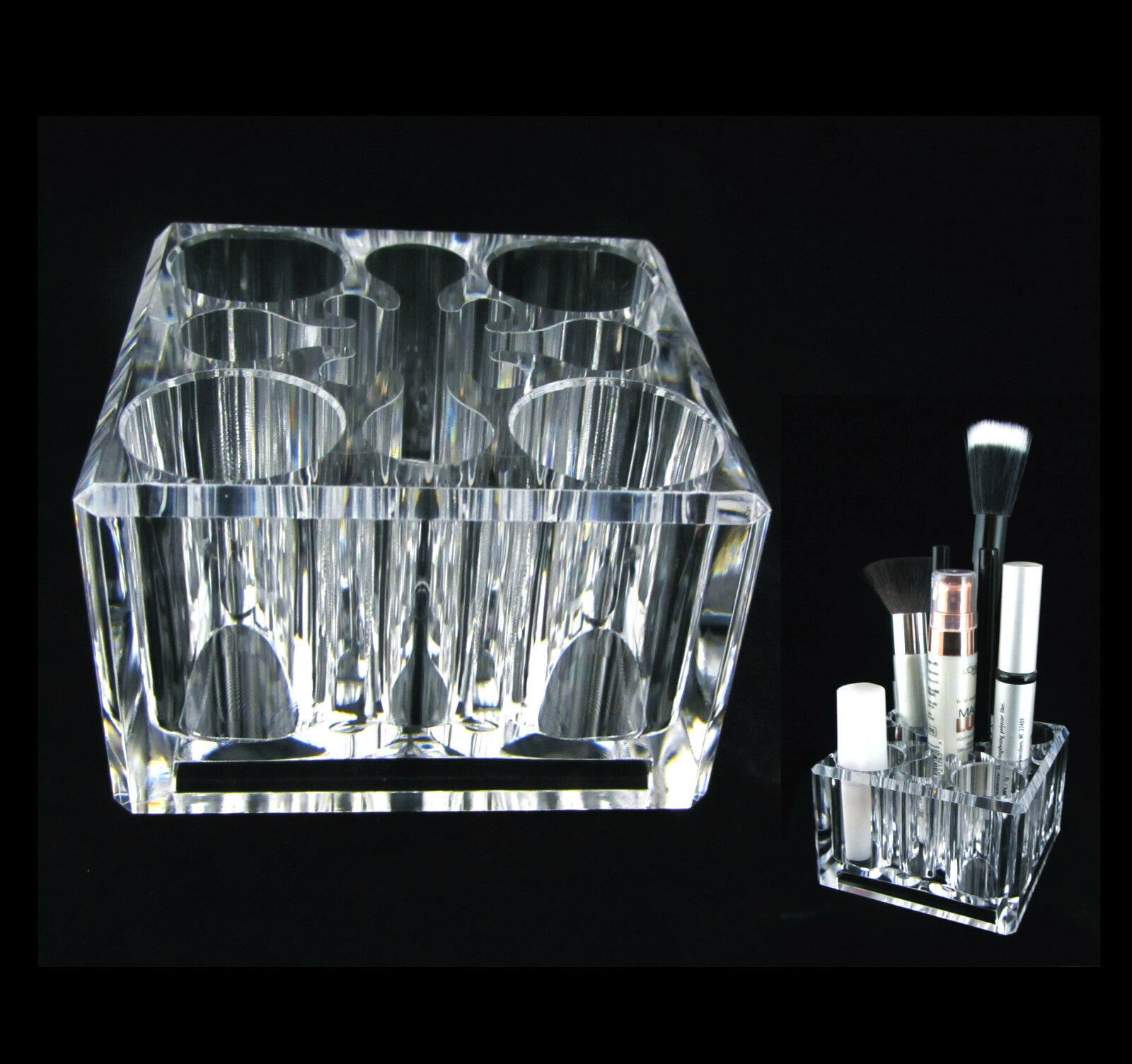 Primary image for Acrylic Square Cube Cosmetic Organizer Luxury Makeup Brush Storage Holder #5654