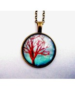 """Aqua With Red Tree Of Life Pendant On 22"""" Antique Bronze Finish Chain New - $17.77"""