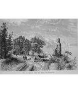 JAPAN Lake Hakone with Buddha Statue - 1882 Wood Engraving - $12.60