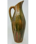 Vintage Italian Flambe Glazed Pitcher Pottery Red Green Brown - $29.69