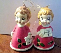 "2 Vintage Josef Originals Choir Angel Figurine wreath Christmas Ornament 3"" - $19.99"