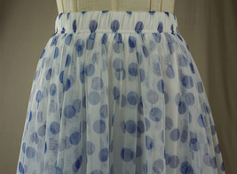 Polka Dot Tulle Midi Skirt High Waisted A-line Tulle Tutu Skirt Blue Dotted image 4