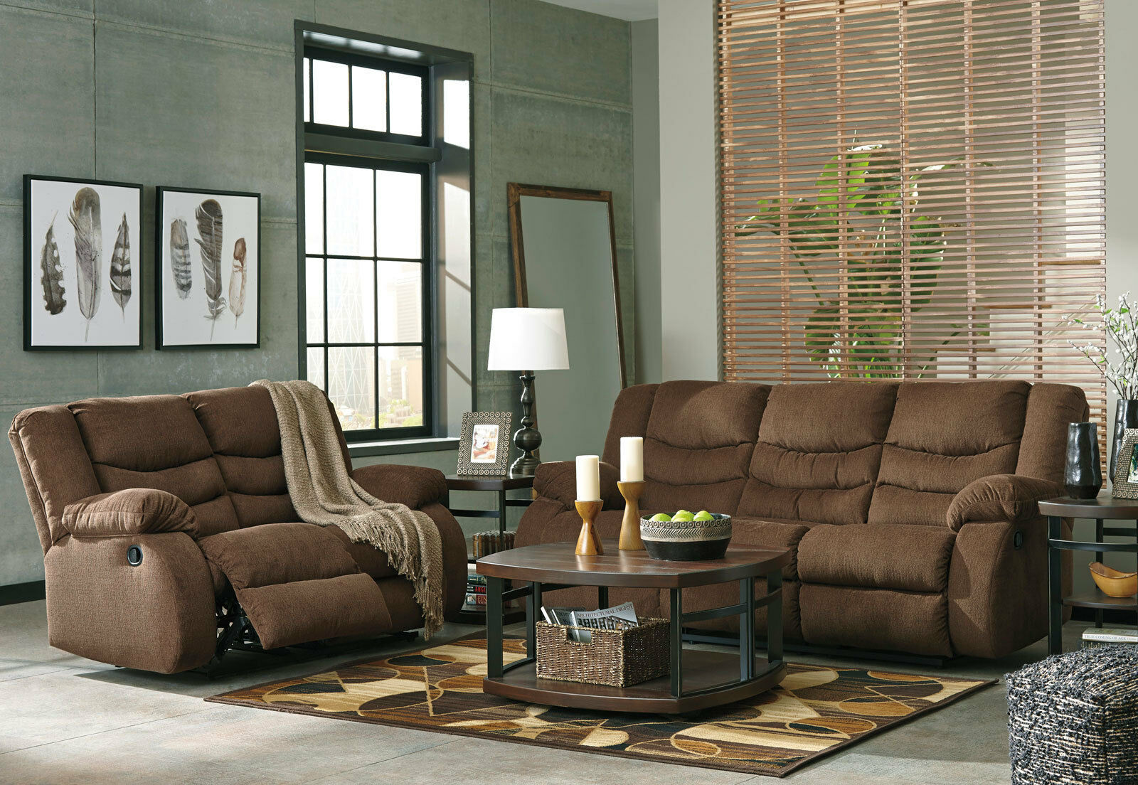 Talley modern living room couch set new brown fabric - Fabric reclining living room sets ...