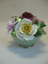 Figurine Floral in Green Pale Vase Bone China Rose Flowers Assorted Colo... - $9.95