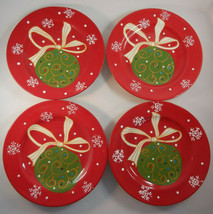 Pier 1 Decorations Salad Dessert Plates Luncheon Lot of 4 Christmas Ornaments - $42.52