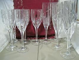 "11 pcs Mikasa Uptown 9 3/8"" Champagne 8 1/8"" Wine Flutes Vertical Swirl ... - $63.70"