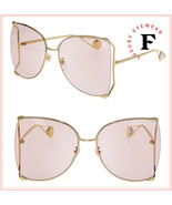 GUCCI 0252 Gold Pink Oversized Metal Fashion Pearl Sunglasses GG0252S Au... - $465.30