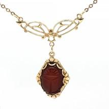 Vintage 1/20 12K Gold-Filled Carved Carnelian Scarab Pendant Necklace Si... - $24.95