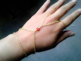 Gypsy Slave Bracelet Red Gem Hand Chain Bohemian Slave Bracelet Red Slav... - $38.00