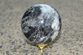 Natural Black Tourmaline With White Shade Crystal Healing Power Aura Sph... - $115.00