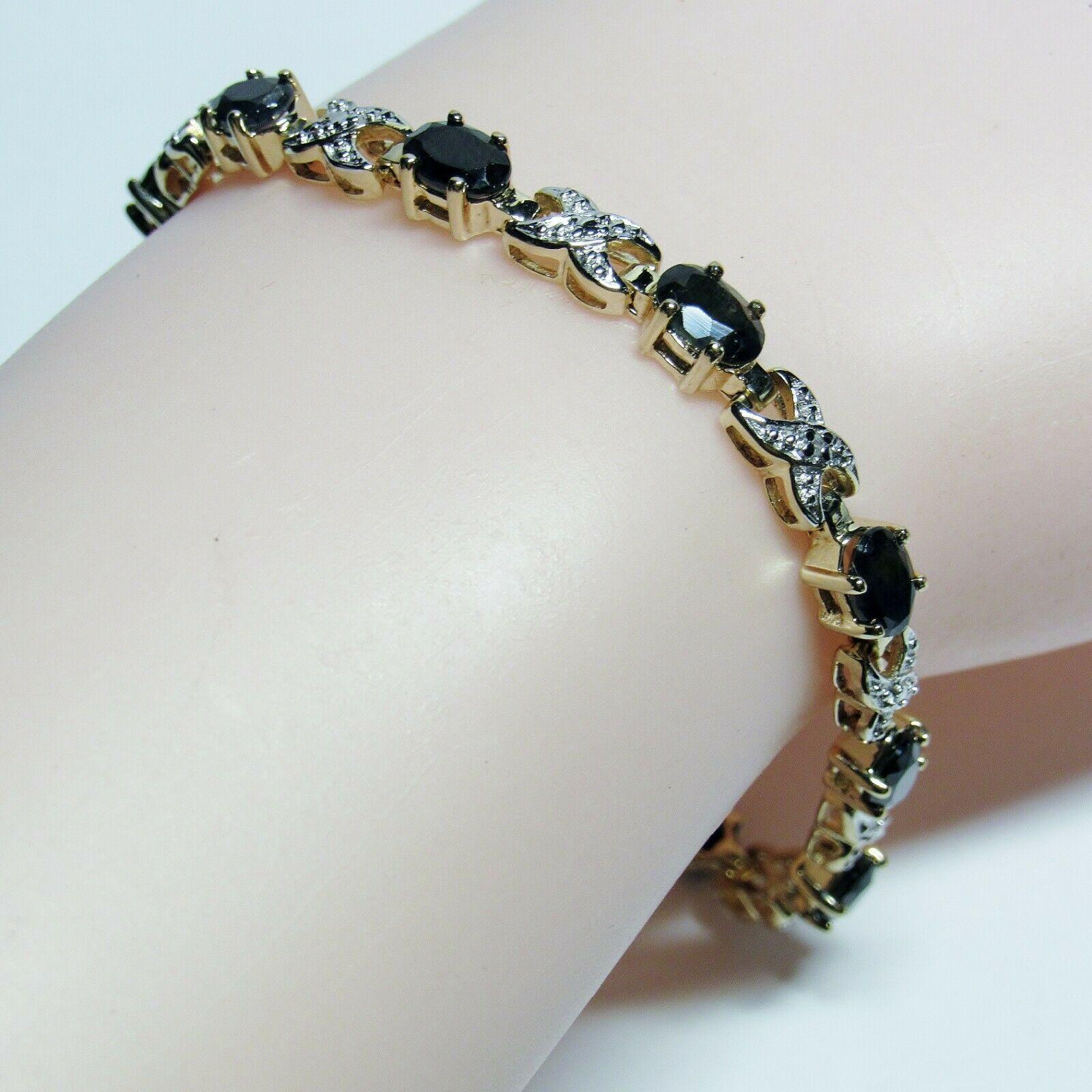 "HSN Technibond Gold Sterling Silver Sapphire Diamond Gemstone Tennis 7"" Bracelet image 7"