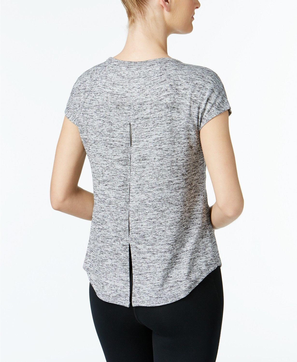 Calvin Klein Womens Performance Marled Keyhole Back Top Grey Size XXL $49 - NWT