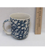 Tienshan Folk Craft Coffee Cup Mug Blue Hearts Sponge Design Stoneware C... - $9.89