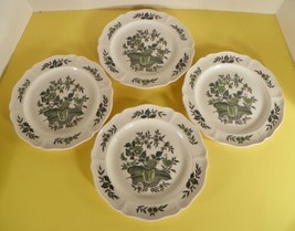 Wedgwood Barlaston GREEN LEAF Salad Plate (s) LOT OF 4 Queen's Shape - $27.67