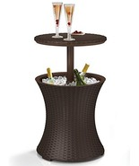 Keter 7.5-Gal Cool Bar Rattan Style Outdoor Patio Pool Cooler Table, Brown - $58.86