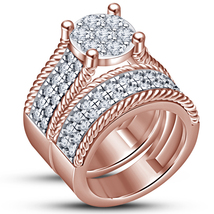Rose Gold Plated Pure 925 Silver Round Cut Diamond Engagement Bridal Ring Set - $96.88