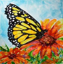 "Akimova: MONARCH BUTTERFLY, wax painting, 12""x12"", flower - $30.00"