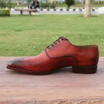 Handmade Men's Burgundy Burnished Leather Brogues Lace Up Dress Oxford Shoes image 2