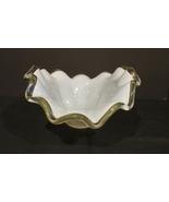 Murano Hand Blown Art Glass Olive White  Petal Flower Vase Italy~ NEW - $60.00
