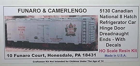 Funaro & Camerlengo HO CN 8 Hatch Reefer Car w/hinge door dreadnaught ends Kit 5