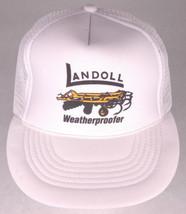 Vtg LANDOLL Weatherproofer Hat-White-Rope Bill-Mesh-Farm Equipment-Big R... - $23.36