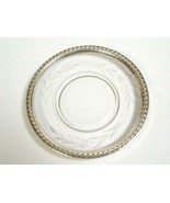 Vintage Etched Glass Saucer Plate Sterling Silver Rope Rim change ring dish - $50.83