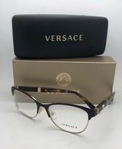 New VERSACE Eyeglasses MOD.1233-Q 1344 53-17 140 Brown & Gold Cat Eye w/ Leather