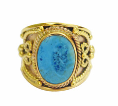 fine-looking Turquoise Gold Plated Multi Ring genuine jewellery US gift - $20.99