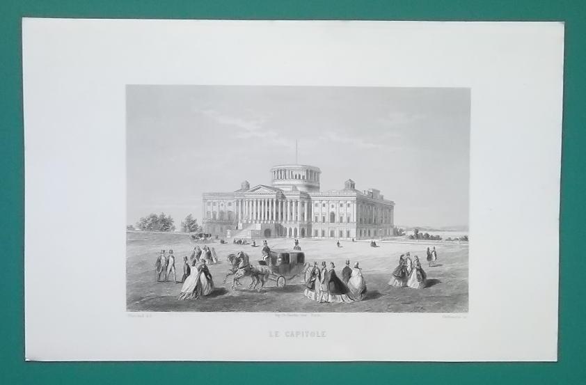 WASHINGTON DC Capitol Building Under Construction - CIVIL WAR Era Print