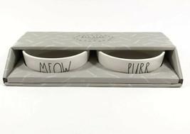 "Rae Dunn Artisan Cat Bowl Dish Set ""MEOW &  PURR"" Pet Food and Water Bow... - $19.95"