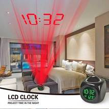 Digital Projection Alarm Clock With LCD Display Voice Talking LED Projector - $19.98