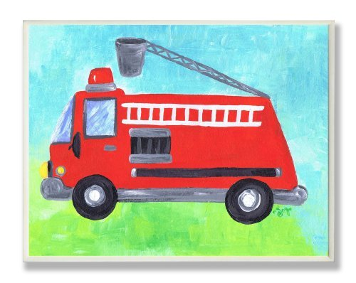 The Kids Room by Stupell Fire Truck with Extension Ladder Rectangle Wall Plaque