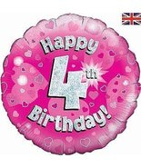 Oaktree 18 Inch Foil Balloon - Happy 4th Birthday Pink Holographic - $6.50
