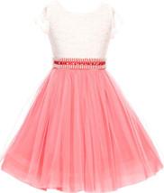 Flower Girl Dress Mesh Skirt with Pearl & Stone Belt Coral JKS 2045 - $27.71+