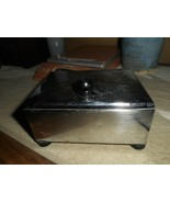 SILVER METAL BOX OR CASE WITH HINGED LID, BLACK KNOB PULL/RUBBER FEET/WO... - $9.89