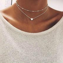 2019 Simple Love Heart Choker Necklace For Women Multi Layer Beads Chock... - $2.99