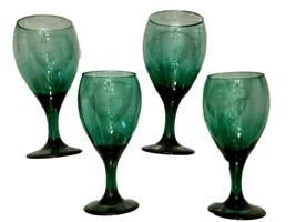 Libbey Teardrop Wine GOBLET LOT of 4 Juniper Green Glass STEMWARE Gold Rim - $19.71