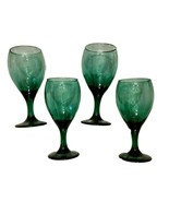 Libbey Teardrop Wine GOBLET LOT of 4 Juniper Green Glass STEMWARE Gold Rim - $19.71