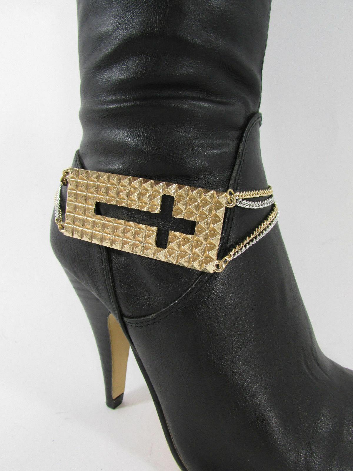 Mujer Moda Joyería Bota Brazalete Oro Placa Cruz Cadenas Zapato Bling Charm image 7