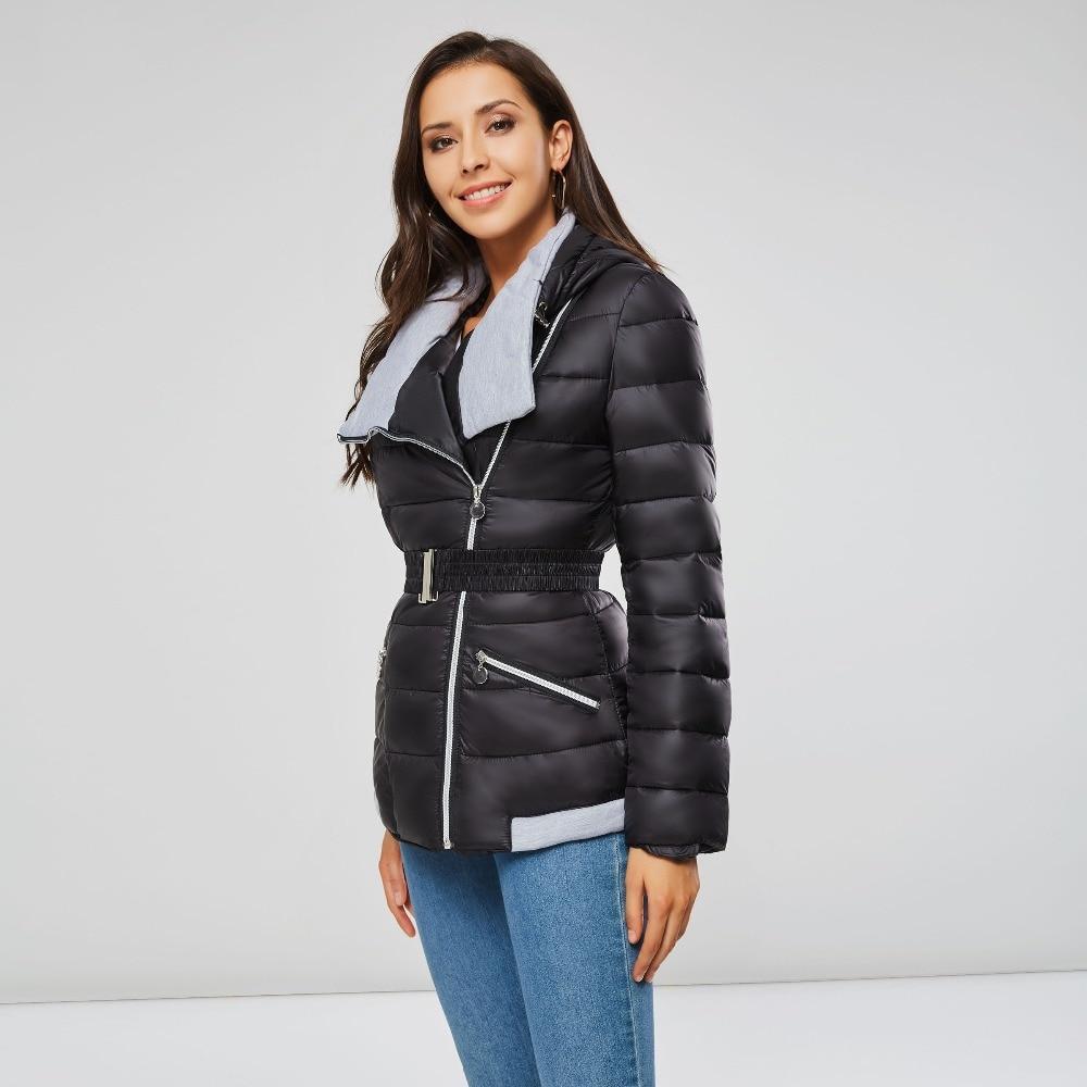 Women Parkas Cotton Warm Thick Short Jacket Coat with Belt